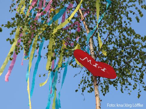 Tradition: ein Maibaum für Verliebte. Foto: kna/Jörg Löffke