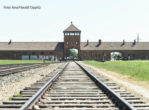 Das Bild zeigt Zugschienen, die auf das Lager Auschwitz zuführen.