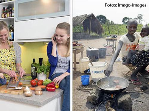 Eine Fotocollage zeigt eine westliche Frau, die Gemüse schneidet und eine afrikanische Frau, die in einem Topf rührt.