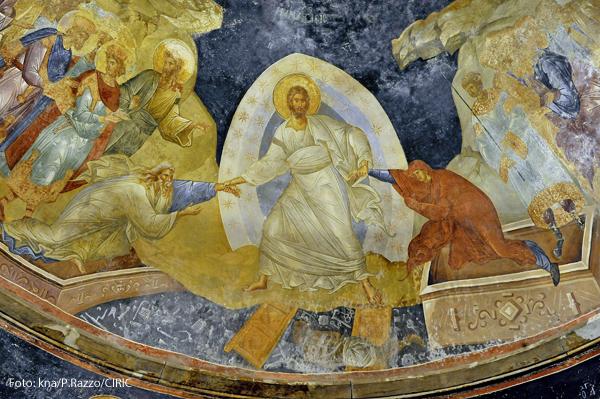 Dieses Fresko des auferstandenen Christus hängt in der byzantinische Chora-Kirche in Istanbul
