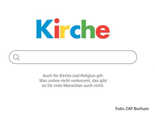 Ein Plakat weist darauf hin, dass die Kirche im Internet präsent sein muss