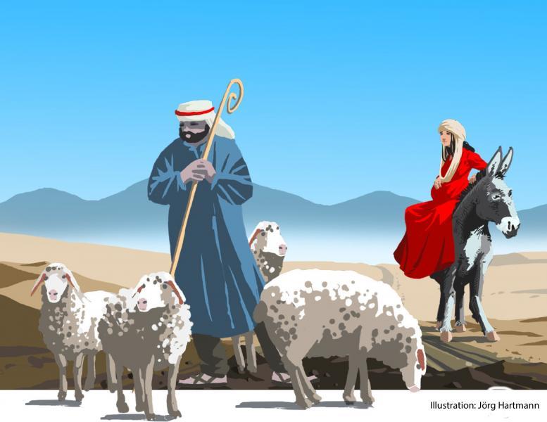 Ein Hirte steht mit seiner Herde auf einem sandigen Weg. Neben ihm sitzt Maria auf einem Esel.