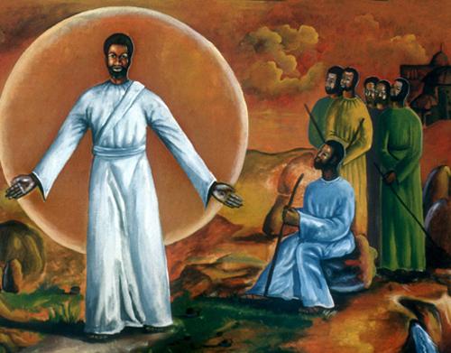 Wandbild in der Kirche Sankt Pius in einem Township bei Bulawayo. Es stammt von George Nene in Rhodesien im Januar 1977. Es zeigt Christus mit den Jüngern.
