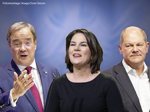 Eine Fotomontage zeigt die Kanzlerkandidaten Armin Laschet (CDU), Annalena Baerbock (Grüne) und Olaf Scholz (SPD)