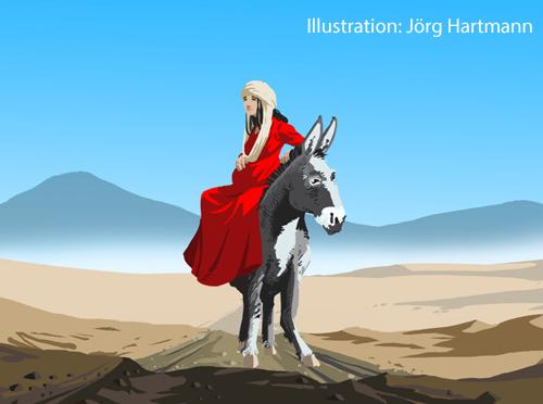 Die schwangere Maria wird von einem Esel getragen.