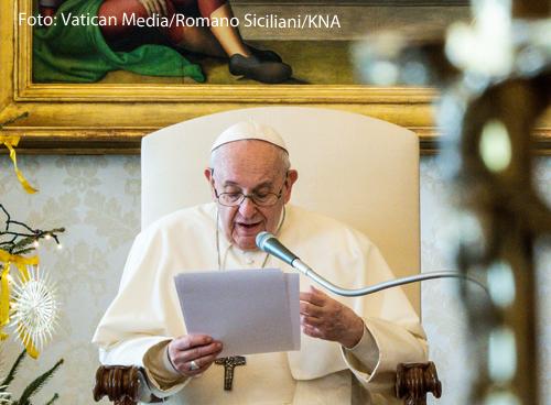 Papst Franziskus bei einer Videoansprache im Vatikan.