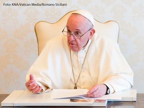 Papst Franziskus bei einer Videoansprache.