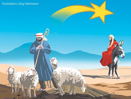 Eine Illustration zeigt Maria auf einem Esel, Hirten und den Stern von Betlehem.