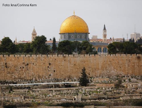 Blick auf die markante goldenen Kuppel des Felsendoms auf Tempelberg in Israel