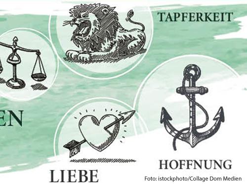 Tapferkeit, Liebe und Hoffnung sind drei der sieben christlichen Tugenden.
