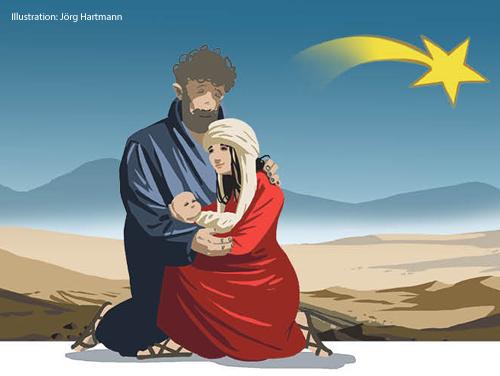 Eine Illustration zeigt Maria, Josef und das Jesuskind