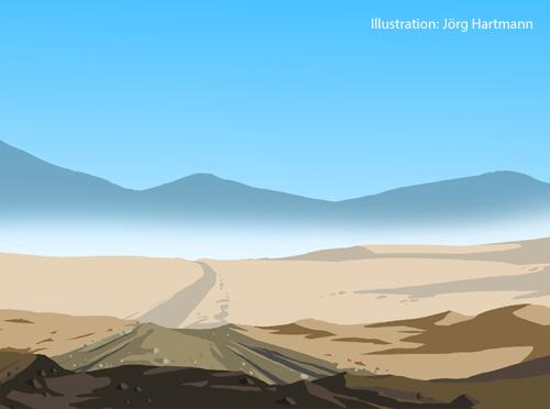 Eine Illustration zeigt einen Weg in der Wüste.