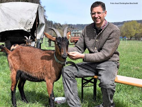 Auf einer Bierbank in der Wiese empfängt Wolfgang Nefzger seine Besucher. Die Ziegen sind Zeugen.