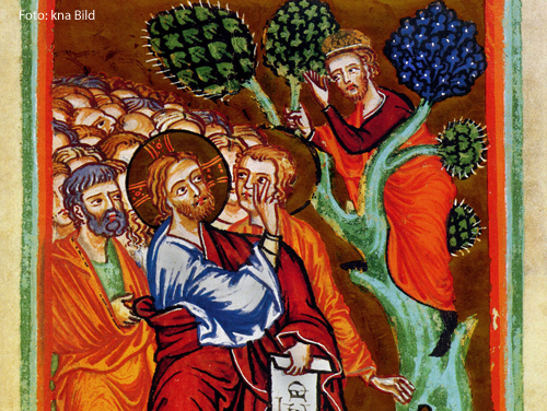 Jesus begegnet dem Zöllner Zachäus.