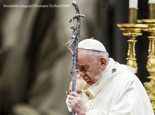 Papst Franziskus während einer Messe am 25. April 2021 im Petersdom im Vatikan.